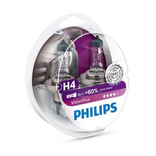 Галогенные лампы Philips VisionPlus H4 +60%