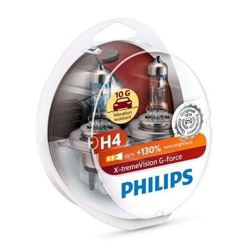 Галогенные лампы Philips X-tremeVision G-force H4 +130%