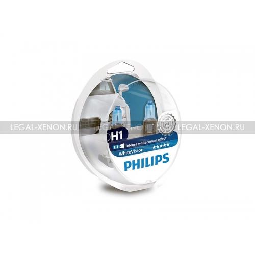 я Галогеновые лампы Philips WhiteVision H1 +60%