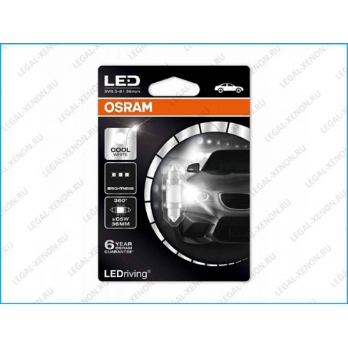 я LED лампа Osram LEDriving Premium C5W Cool White 36мм