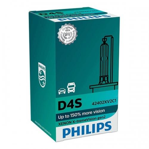 Ксеноновая лампа PHILIPS D4S X-tremeVision gen2 +150% (в картоне)